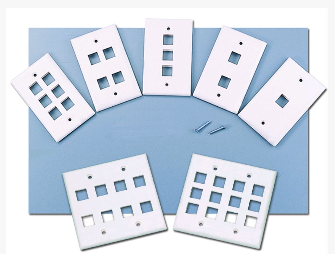 4Port Wall Plate, Single Gang, White w/ Windows Image